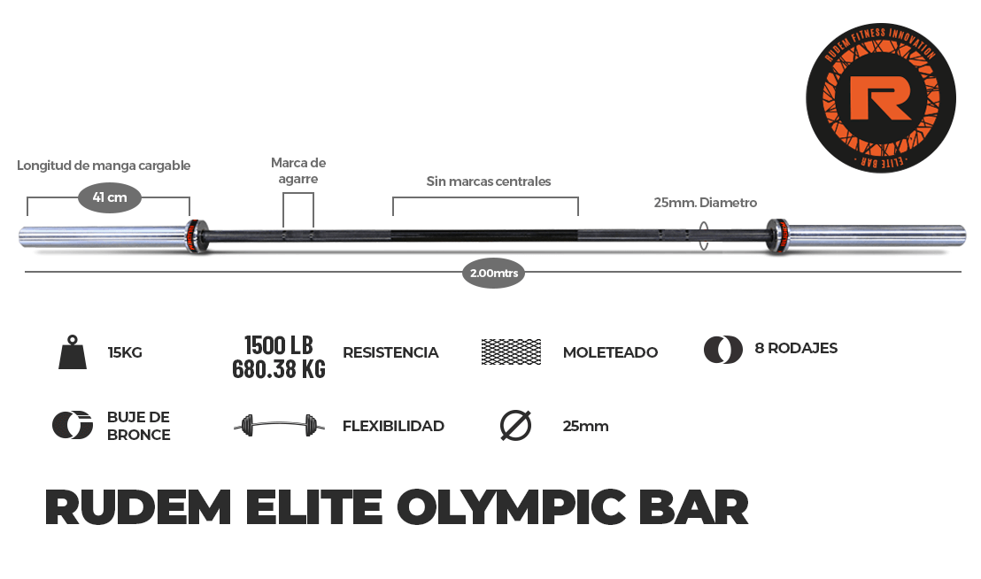 RUDEM ELITE OLYMPIC BAR 15KG – 8 rodajes