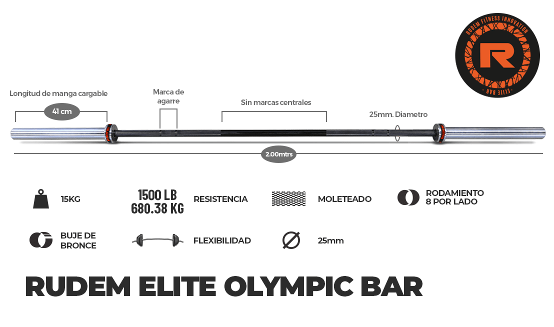 RUDEM ELITE OLYMPIC BAR 15KG – 8 rodajes