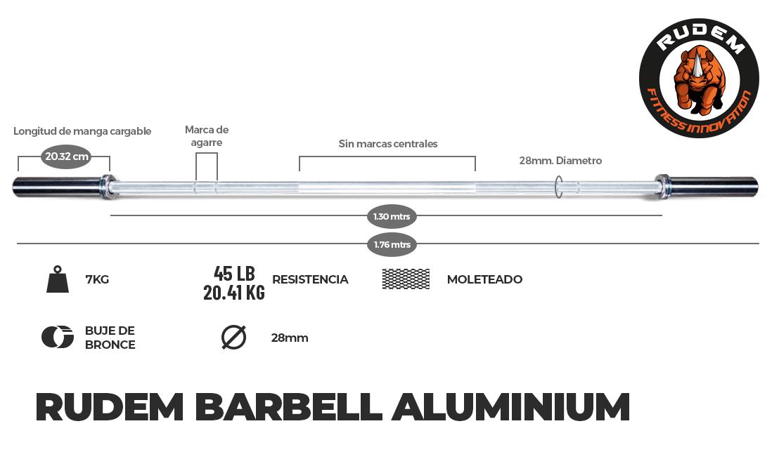 RUDEM BARBELL ALUMINIUM 7.5KG