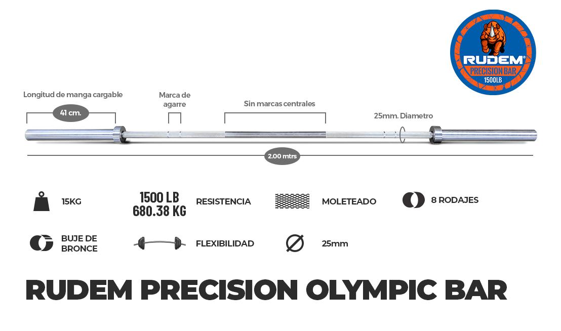 RUDEM PRECISION OLYMPIC BAR 15kg – 8 rodajes