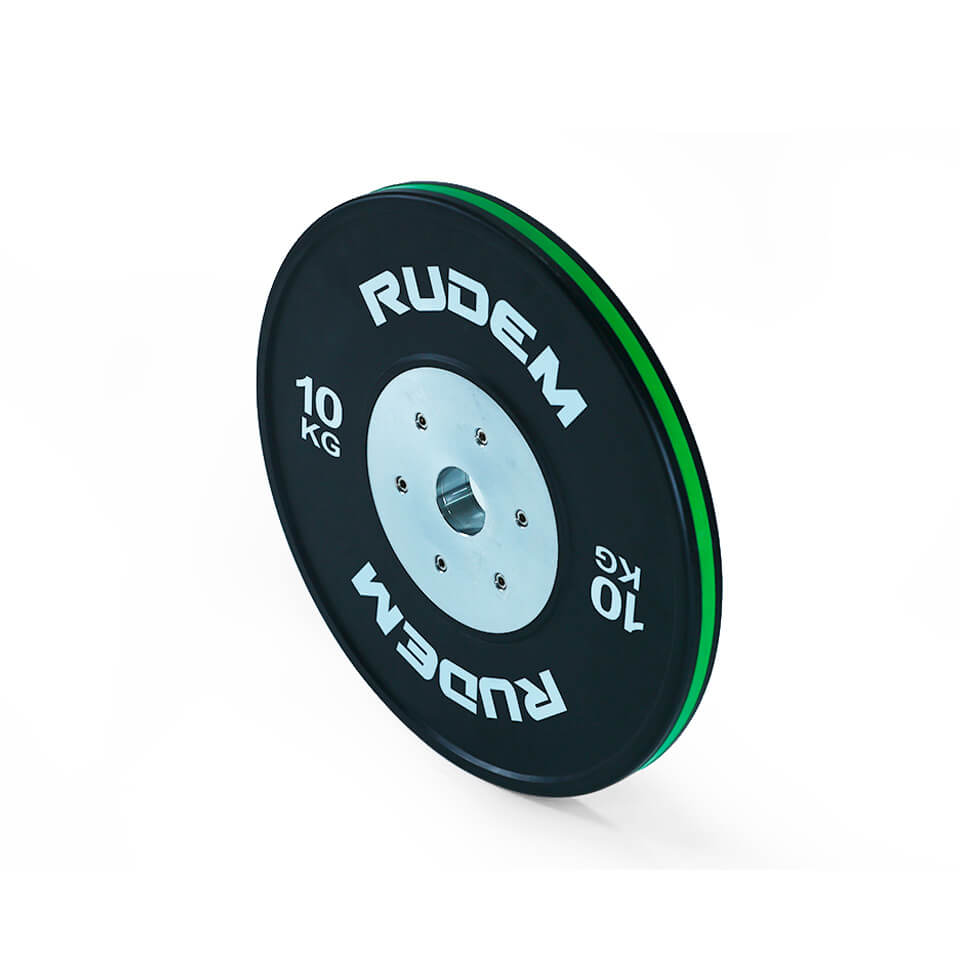 RUDEM Competition Bumpers Plates With Color Strip 10kg