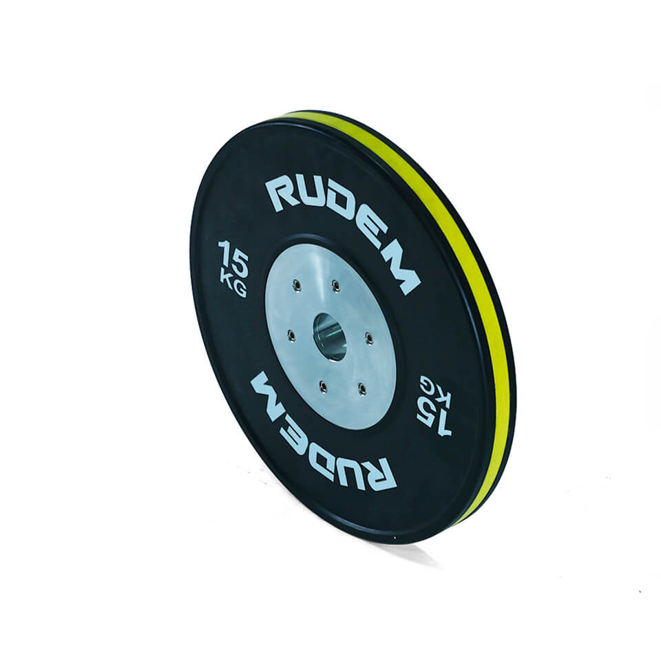 RUDEM Competition Bumpers Plates With Color Strip 15kg