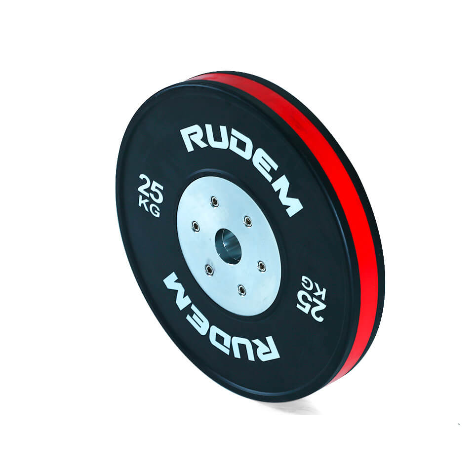 RUDEM Competition Bumpers Plates With Color Strip 25kg