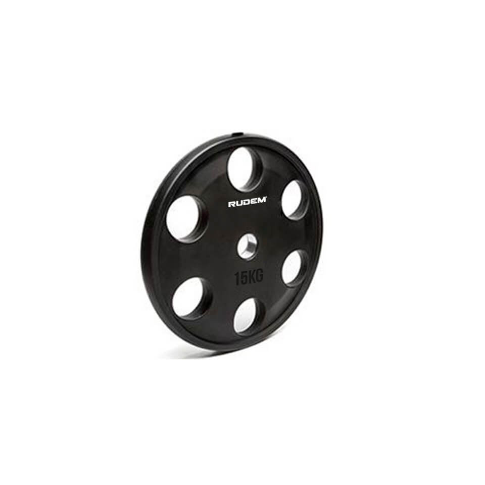 RUDEM Black Rubber Coated Iron Plates 15kg